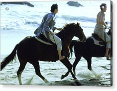 Andie Macdowell And Paul Qualley Riding Horses Acrylic Print