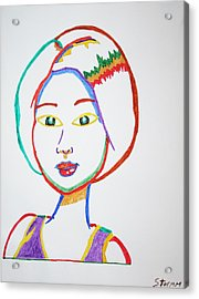 Acrylic Print featuring the painting Anime Asian Girl by Stormm Bradshaw