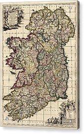 Antique Map Of Ireland By Frederik De Wit - Circa 1700 Acrylic Print