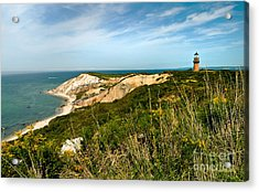 Aquinnah Gay Head Lighthouse Marthas Vineyard Massachusetts Acrylic Print by Michelle Wiarda
