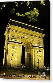 Arc De Triomphe At Night Acrylic Print by John Malone