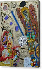 Acrylic Print featuring the mixed media Archangel Jeremiel by Clarity Artists