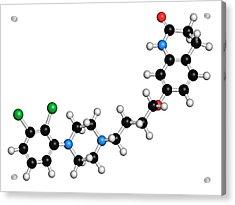 Aripiprazole Antipsychotic Drug Molecule Acrylic Print by Molekuul