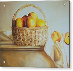 still life print original oil painting Basket Full of Peaches Acrylic Print by Diane Jorstad