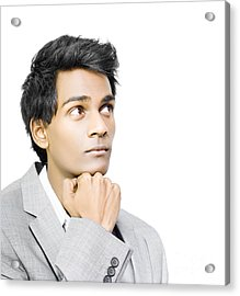 Asian Businessman In Deep Contemplation Acrylic Print by Jorgo Photography - Wall Art Gallery