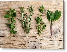 Assorted Fresh Herbs Acrylic Print by Nailia Schwarz