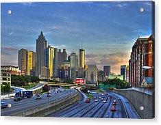 Atlanta Sunset Reflections Acrylic Print by Reid Callaway