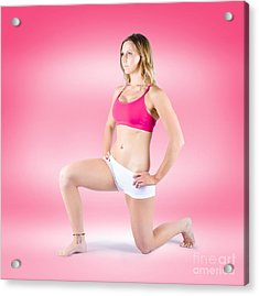 Attractive Active Girl Doing Physical Exercises Acrylic Print by Jorgo Photography - Wall Art Gallery