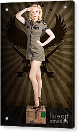 Attractive Blond Pin-up Army Girl. Military Salute Acrylic Print by Jorgo Photography - Wall Art Gallery
