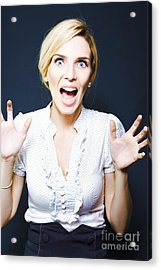 Attractive Business Woman Screaming In Terror Acrylic Print by Jorgo Photography - Wall Art Gallery