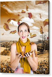 Attractive Young Woman Enjoying The Great Outdoors Acrylic Print