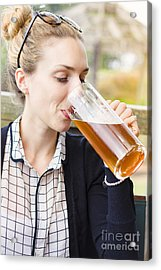 Attractive Young Woman Sipping From Beer Mug Acrylic Print by Jorgo Photography - Wall Art Gallery