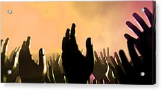 Audience Hands And Lights At Concert Acrylic Print