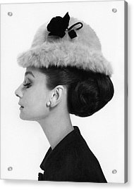 Audrey Hepburn Wearing A Givenchy Hat Acrylic Print by Cecil Beaton