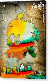 Austin Map And Skyline Watercolor Acrylic Print
