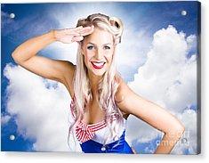 Australian Navy Girl Saluting Australia Day Acrylic Print