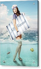 Australian Sailor Pin-up Woman Holding Sign Board Acrylic Print