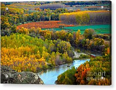 Autumn Colors On The Ebro River Acrylic Print