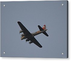 Acrylic Print featuring the photograph B-17 Flying Fortress Wwii Bomber Over Santa Rosa Sound At Twilight by Jeff at JSJ Photography