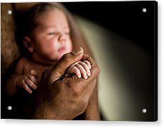 Baby Boy Holding His Father's Hand Acrylic Print