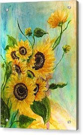 Acrylic Print featuring the painting Back To The Cosmos by France Laliberte