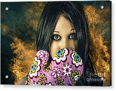 Bad Cooking Woman Burning Down House Acrylic Print