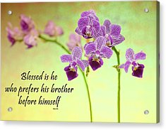 Bahai Purple Orchid Quote Acrylic Print by Rudy Umans
