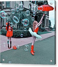 Ballerina With Mysterious Girl Acrylic Print