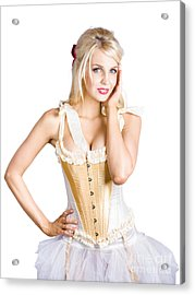 Ballet Dancer In Corset Dress Acrylic Print