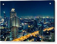 Bangkok City Skyline At Night Acrylic Print by Fototrav Print