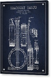 Banjo Patent Drawing From 1882 - Blue Acrylic Print by Aged Pixel