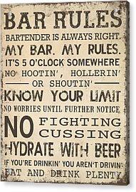 Acrylic Print featuring the digital art Bar Rules by Jaime Friedman