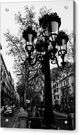 Barcelona - La Rambla Bw Acrylic Print by Andrea Mazzocchetti