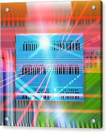 Barcode Scanning, Conceptual Artwork Acrylic Print by Science Photo Library