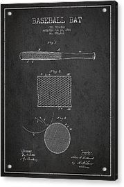 Baseball Bat Patent Drawing From 1904 Acrylic Print