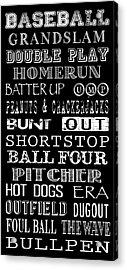 Baseball Subway Art Acrylic Print by Jaime Friedman