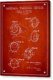 Baseball Training Device Patent Drawing From 1963 Acrylic Print