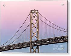 Bay Bridge Lights At Sunset Acrylic Print by Kate Brown