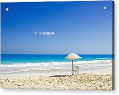 Acrylic Print featuring the photograph Beach Chair And Umbrella On Idyllic Tropical Sand by Mohamed Elkhamisy