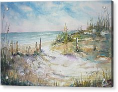 Beach Fence Acrylic Print by Dorothy Herron