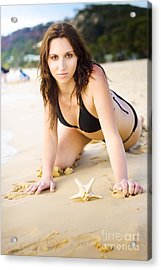 Beach Fun With A Gorgeous Brunette Acrylic Print