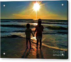 Beach Kids Acrylic Print