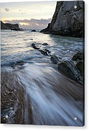 Beach Sunrise Landscape With Long Exposure Waves Movement Acrylic Print by Matthew Gibson