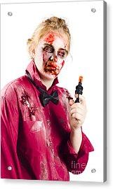 Beaten Woman Holding Handgun Acrylic Print by Jorgo Photography - Wall Art Gallery