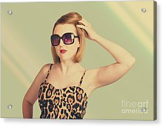 Beautiful 80s Pinup Woman On Hairdressing Backdrop Acrylic Print