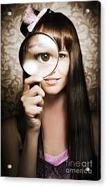Beautiful Female Watching Through Magnifying Glass Acrylic Print