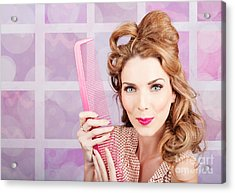 Beautiful Hairstyle Model With Beauty Hair Comb Acrylic Print by Jorgo Photography - Wall Art Gallery