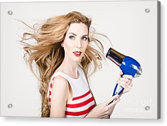 Beautiful Model Hair Styling Long Red Hairstyle Acrylic Print