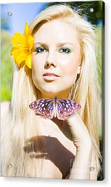 Beautiful Natural Blonde With Butterfly Acrylic Print