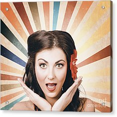 Beautiful Retro Brunette Girl With Surprised Look Acrylic Print